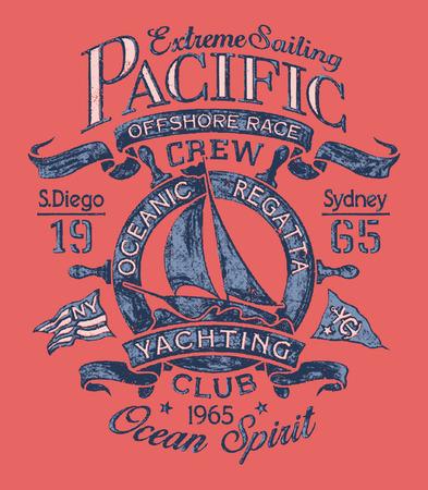 Extreme sailing regatta. Vector artwork for T-shirt print in custom colors