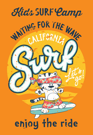 surfing: Cute kitten artwork surfing camp for children wear grunge effect in separate layer