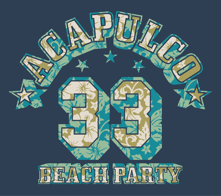 party wear: Acapulco beach party - Vector print for girls wear in custom colors
