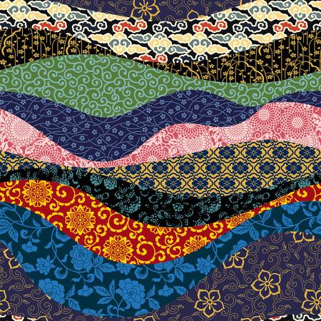 中国パッチワーク ベクトル オリエンタル スタイルのシームレス パターン
