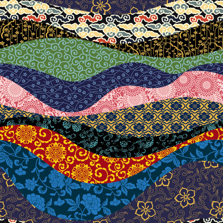 flores chinas: Vector de mosaico chino estilo oriental patrón transparente Vectores