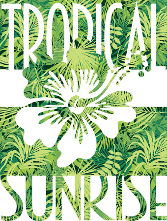 tropical garden: Tropical sunrise vector print for woman wear in custom colors Illustration