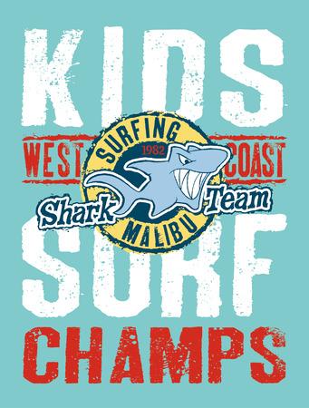 shark cartoon: Shark equipo de surf obra del vector para niños llevan en colores personalizados Vectores