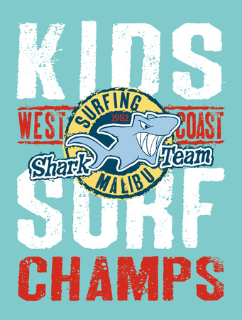 cartoon surfing: Shark surfing team  Vector artwork for children wear in custom colors
