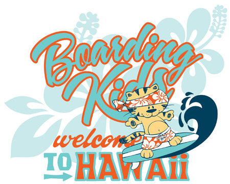 t shirt design: Cute kitten surfing Hawaii artwork for children wear custom colors