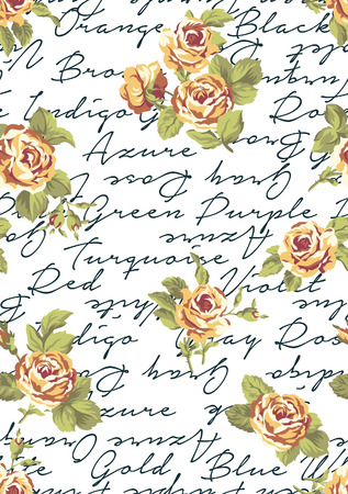 written: Roses with written background vector seamless pattern in custom colors Illustration