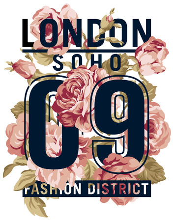 Soho London Roses  vector artwork for women wear in custom colors Stock Illustratie