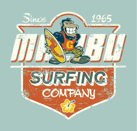surfer: Cute gorilla surfer vector print for children wear grunge effect in separate layer Illustration