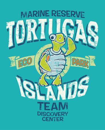camisas: Islas Tortugas impresión vectorial reserva marina para los niños lleven efecto grunge en la capa separada