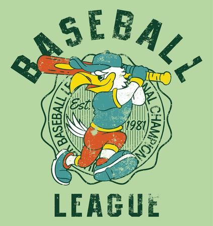 pelota beisbol: Eagles niños béisbol, impresión vector para niños lleven efecto grunge en la capa separada Vectores