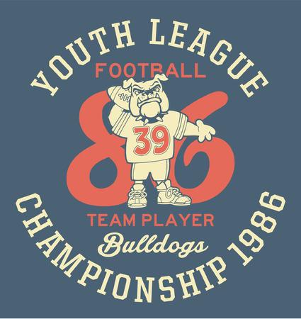 athletic wear: Bulldog football team - Artwork for children sports wear in custom colors