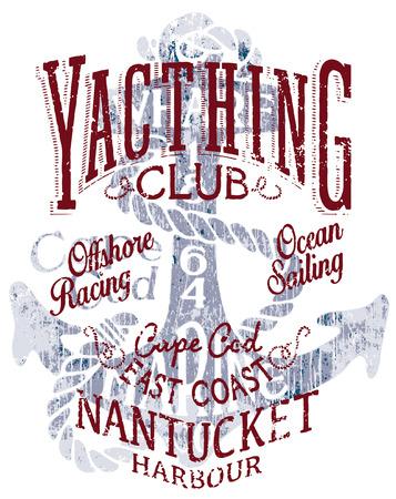 marinero: Océano club de yates de vela, ilustraciones vectoriales grunge para colores de camisetas personalizadas.