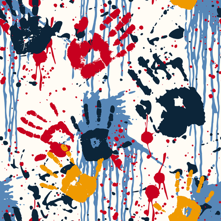 Hand prints and blots, abstract vector seamless pattern Vettoriali