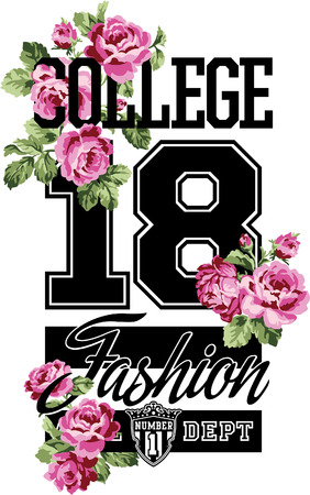 athletic: College fashion whit roses, vector artwork for women wear in custom colors