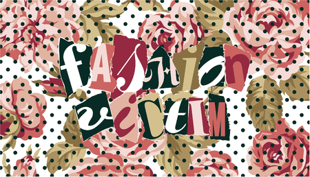 victim: Fashion victim with roses and polka dot background, vector print for women wear in custom colors