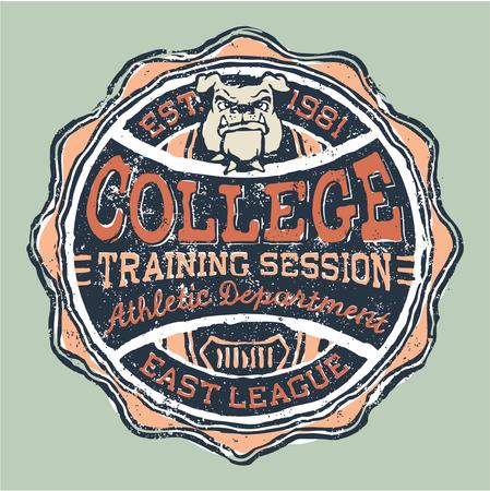 animal print: Bulldog universidad departamento de deportes - ilustraciones para los niños desgaste en colores personalizados
