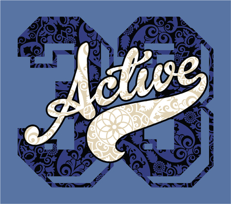 the varsity: Active girls college style, vector print for sportswear and free time