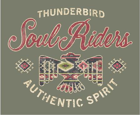 魂ライダー、別のレイヤーでシャツ グランジ効果のためネイティブ アメリカン スタイルのアートワーク