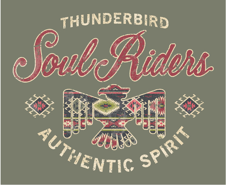 thunderbird: Soul riders, Native American style artwork for shirt grunge effect in separate layer Illustration