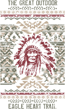 Vintage eagle heart chief trail, vector print for t shirts custom colors grunge effect in separate layer