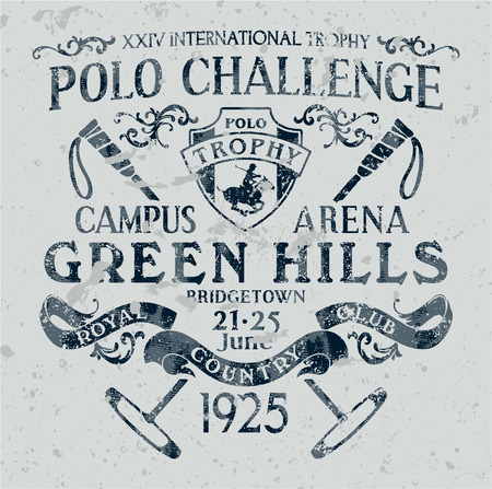 polo sport: Horseback challenge polo sport, print for sports wear grunge effect in separate layer