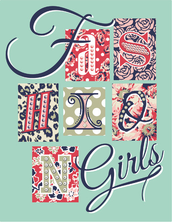 girl shirt: Fashion Girls patchwork, vector artwork for girl shirt with rhinestones and sequins application