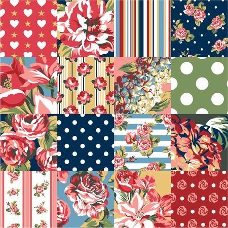 花とパッチワークを抽象化、カスタム カラーでシームレスなパターンをベクトル  イラスト・ベクター素材