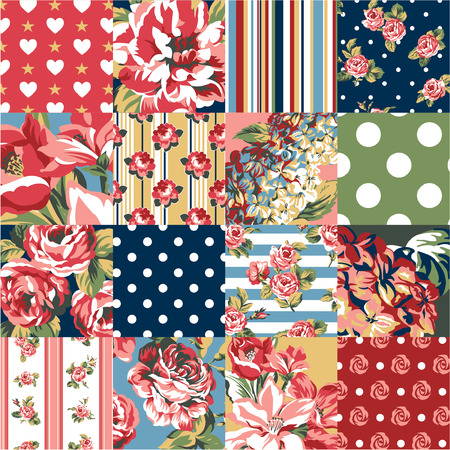 Abstract patchwork with flowers, vector seamless pattern in custom colors Ilustração