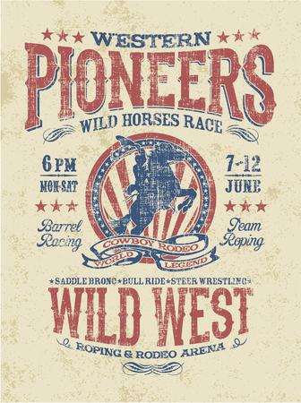 camisas: pioneros occidentales del rodeo, ilustraciones vectoriales para el efecto de camisetas grunge en la capa separada Vectores