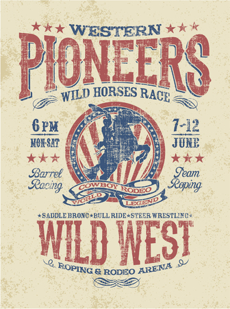 Westelijke pioniers rodeo, vector artwork voor t-shirts grunge effect in een aparte laag