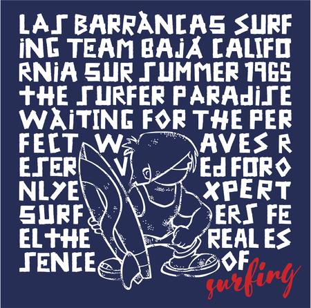 funny surfer: Kids surfing team - Funny surfer vector artwork for children wear Illustration