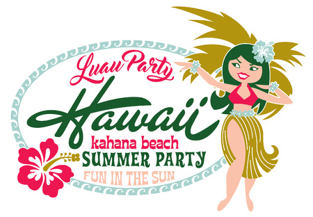 Summer beach luau party, artwork for children girl t shirt custom colors