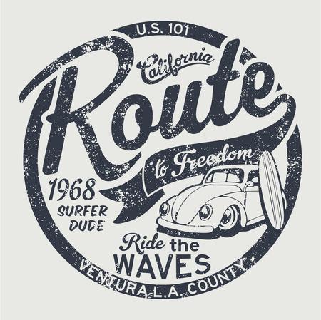 Route naar vrijheid vintage surfen illustraties voor kinderen dragen grunge effect in een aparte laag