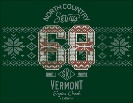 ski wear: Vermont skiing with Norwegian knitting motif, print or embroidery artwork for sweatshirt or sweater