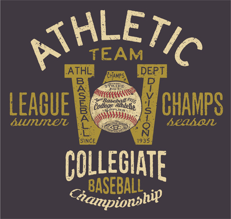 athletic: Athletic baseball team, vector print for t shirts custom colors Illustration