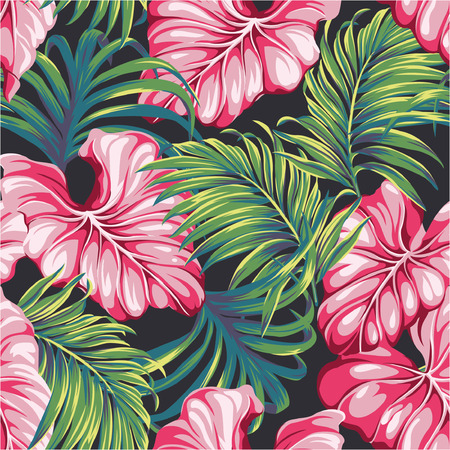 Tropical leaves vector seamless pattern