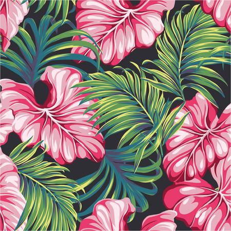 Tropische bladeren vector naadloos patroon