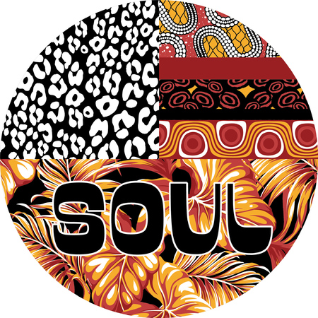 soulful: Ethnic soulful stamp, vector artwork for woman shirts with African motifs