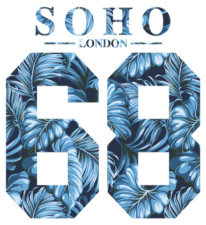 typography: Soho London vintage artwork for woman shirt with tropical leaves background Illustration