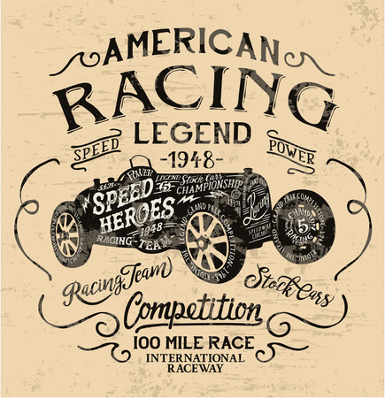 legend: American racing legend, vintage print for t shirt grunge effect in separate layer