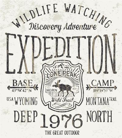 Lone Peak trail wild expeditie, vector artwork voor jongen kleding Vector Illustratie