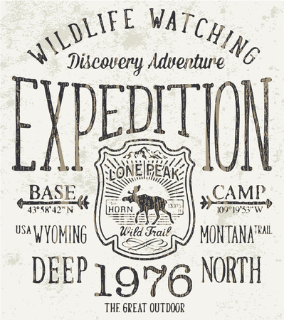 Lone Peak trail wild expedition, vector artwork for boy clothing