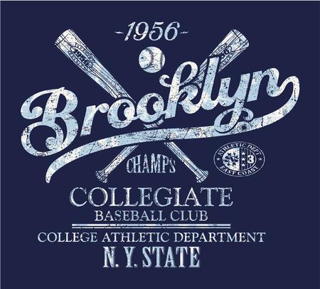 the varsity: Brooklyn baseball club, vector print for sportswear, grunge effect in separate layer