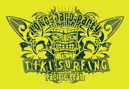 Tiki surf team, vector print for t shirt, grunge effect in separate layer
