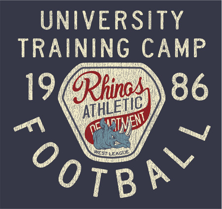 t shirt print: Rhinos athletic department, vector artwork for print t shirt grunge effect in separate layer Illustration