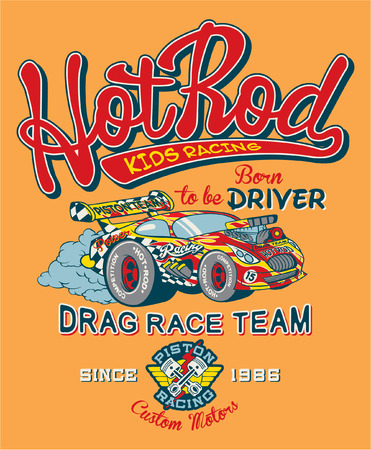 Hot Rod kids racing team, print for children wear in custom colors