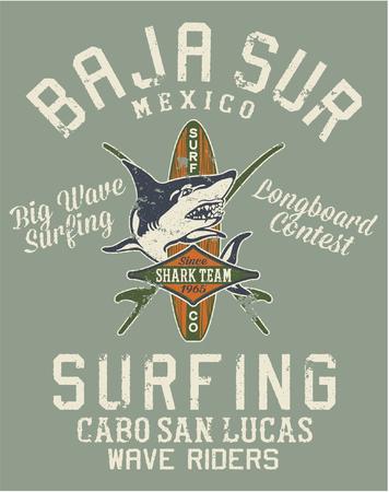 Baja California Sur equipo de surf, de impresión del vector para el efecto de la camiseta del grunge en capas separadas Ilustración de vector