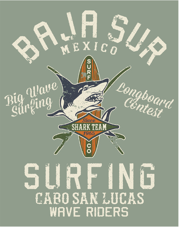 Baja California Sur surfing team, vector print for t shirt grunge effect in separate layers Vectores