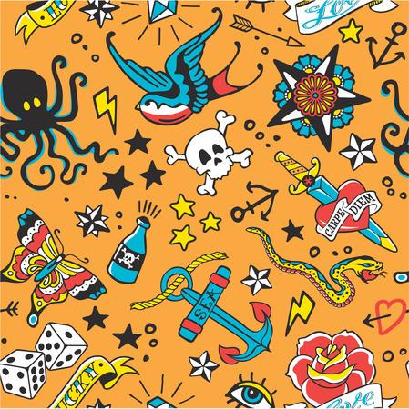 Cute old school tattoo vector seamless pattern in custom colors