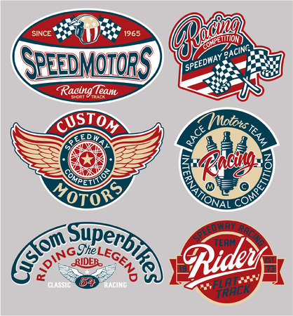 Vector motor patches collection, artwork for boy wear prints or embroideries